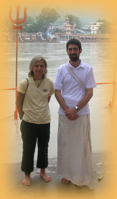 Linda and Gajananam in Rishikesh by the Ganga